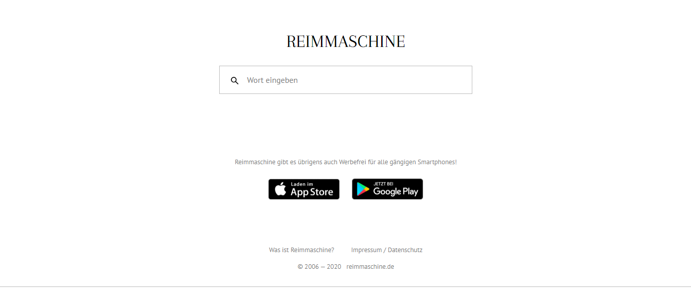 Reimemaschine Reimmaschine Start